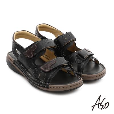 A.S.O 手縫氣墊鞋 真皮寬楦魔鬼氈休閒涼拖鞋 黑色