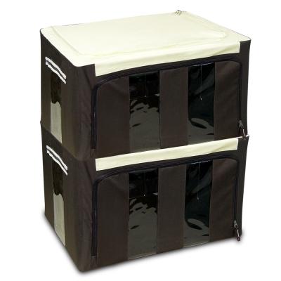 WallyFun 第三代-雙U摺疊收納箱 -棕色86L (超值2入) ~超強荷重200kg