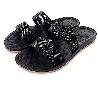 GRENDHA 晶亮時尚休閒風拖鞋-黑色