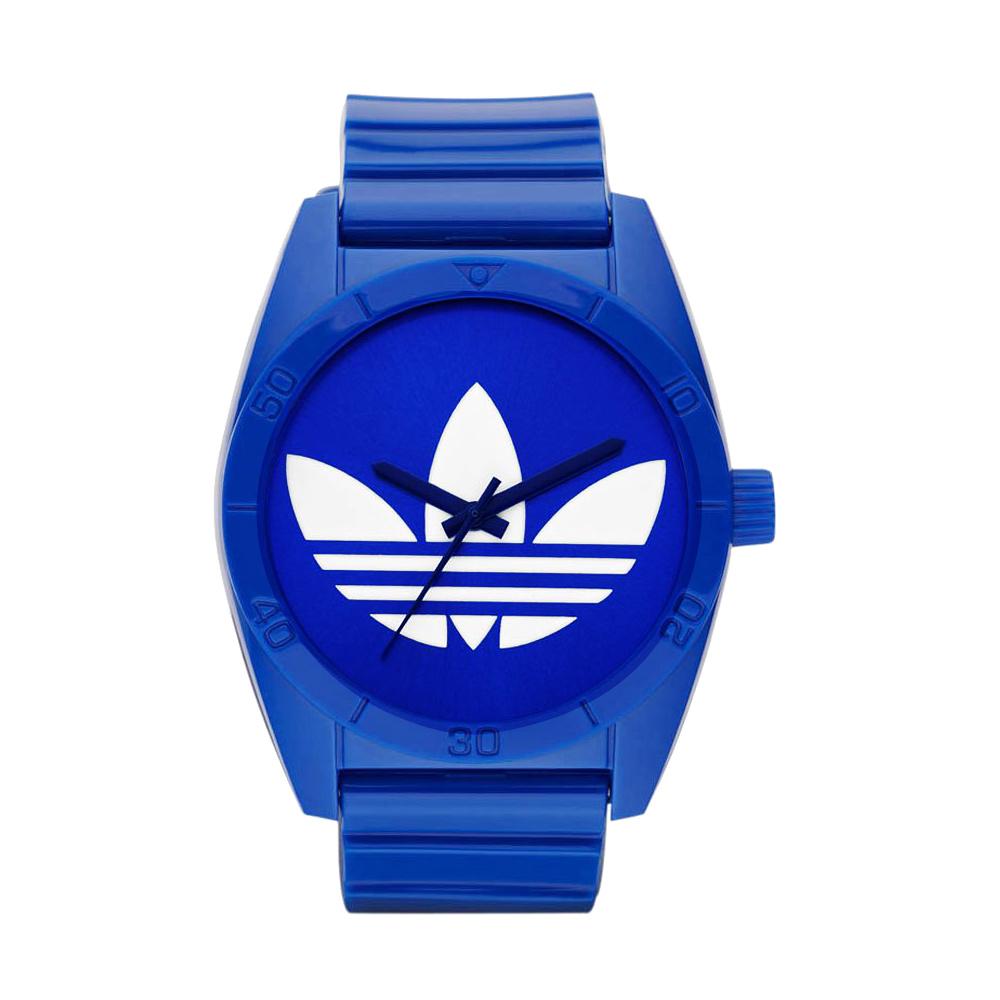 adidas Santiago 三葉草大三針時尚腕錶-藍/40mm