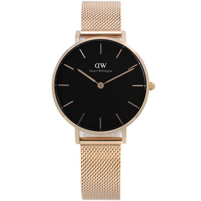 Daniel Wellington Classic米蘭編織不鏽鋼手錶-黑x玫瑰金/32mm
