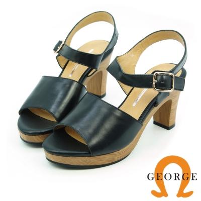 GEORGE 喬治-簡約寬版質感真皮高跟涼鞋-黑色