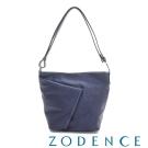 ZODENCE 義大利質鞣革系列不對稱柔軟拉鍊肩背包(小) 藍色