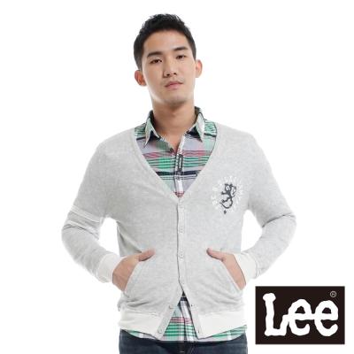 Lee-外套-前開扣長袖針織-男款-灰
