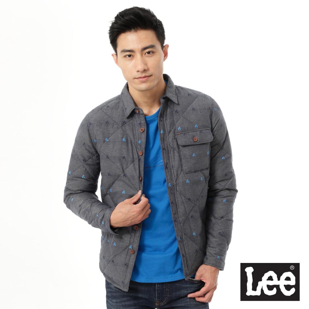 Lee 羽絨外套 菱格車紋緹花-男款-灰