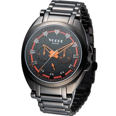 VOGUE 韓式極簡休閒時尚腕錶-黑x橘色/42mm