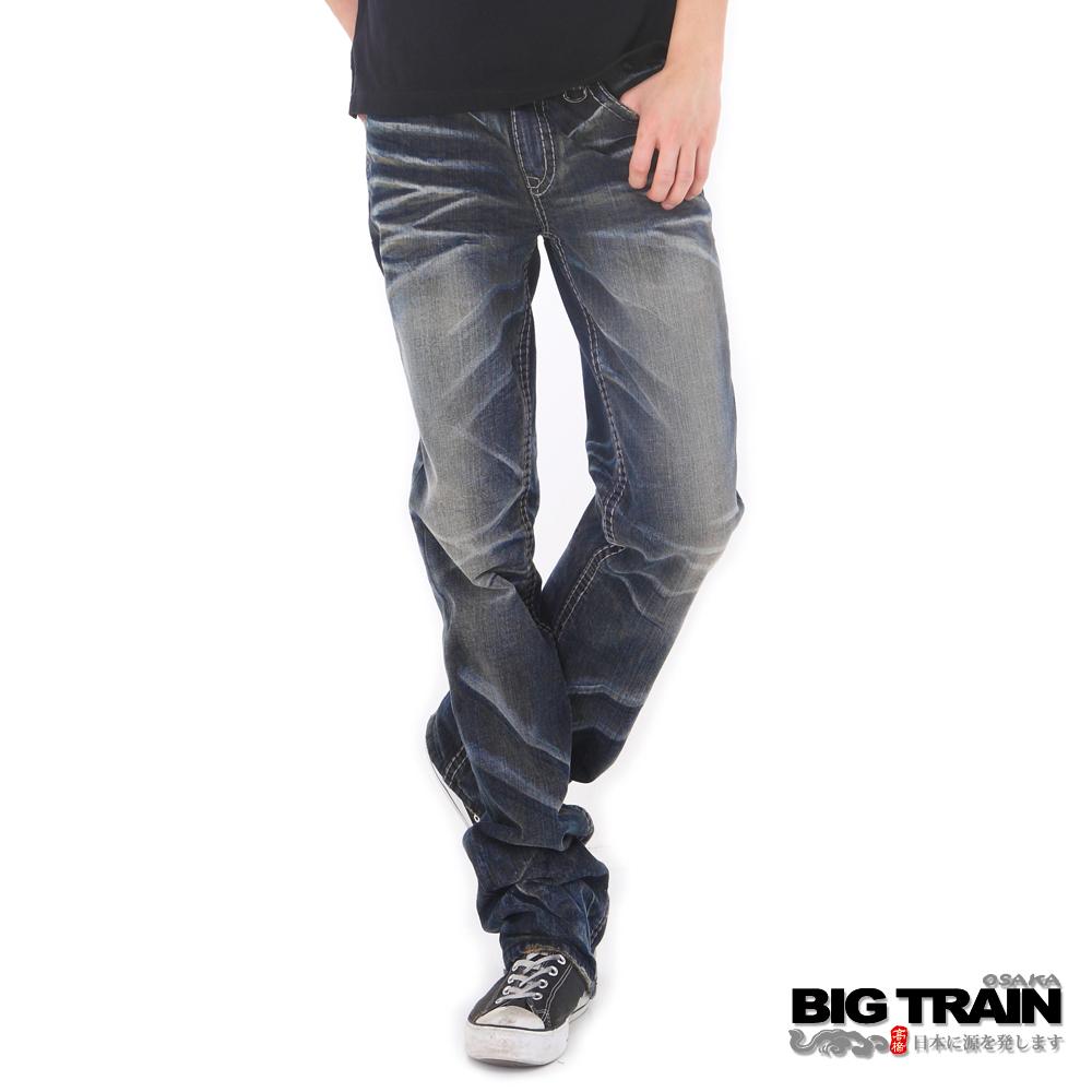 BIG TRAIN-墨達人祥雲小直筒褲-深藍