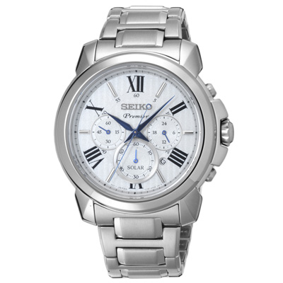 SEIKO 別緻經典時尚太陽能腕錶-SSC595P1-43mm