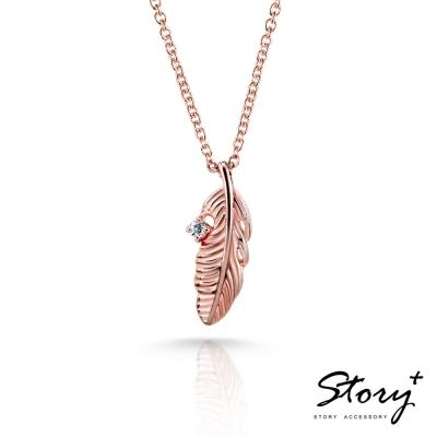 STORY-玫瑰情緣系列-絢麗之羽 純銀項鍊(玫瑰金)