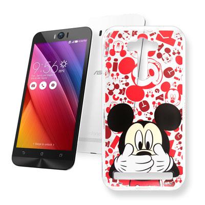 迪士尼 華碩 Zenfone 2 Laser 5.5吋 大頭透明手機軟殼(摀嘴米奇)