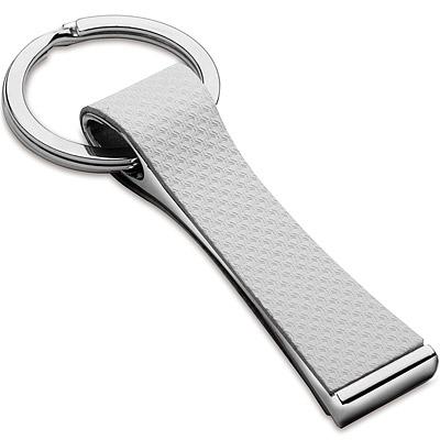 《REFLECTS》網紋皮革鑰匙圈(白)