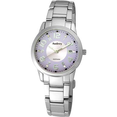Audrey 歐德利 俏皮可愛 時尚數字女錶(AUL5629)-紫色/27mm