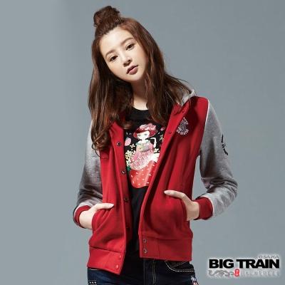 BIG-TRAIN-經典棒球連帽外套-女-紅色