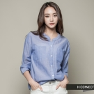H:CONNECT 韓國品牌 女裝 - 素面亨利V領襯衫 - 深藍(快)