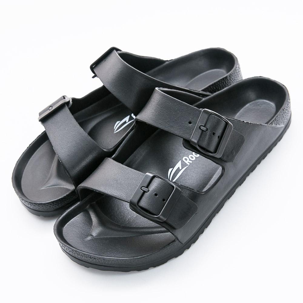 Roadpacer-男雙釦環休閒拖鞋-黑