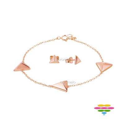 彩糖鑽工坊 手鍊+耳環 銀鍍玫瑰套組 桃樂絲 Doris系列
