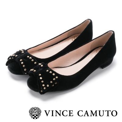 Vince Camuto 麂皮鉚釘甜美搖滾平底鞋-絨黑