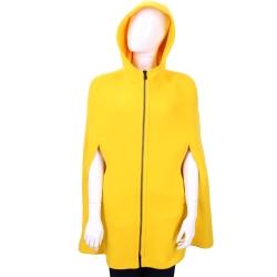Max Mara-SPORTMAX 黃色羊毛斗篷式連帽拉鍊外套(80%LANA)