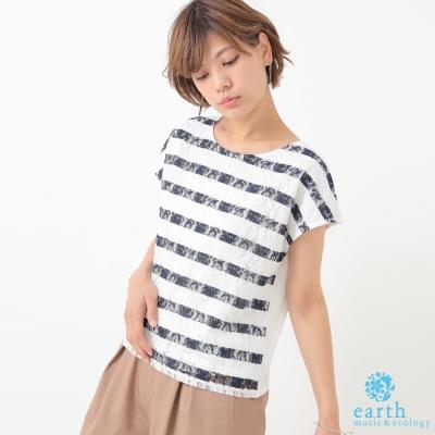 earth music  蕾絲花邊條紋配色圓領上衣