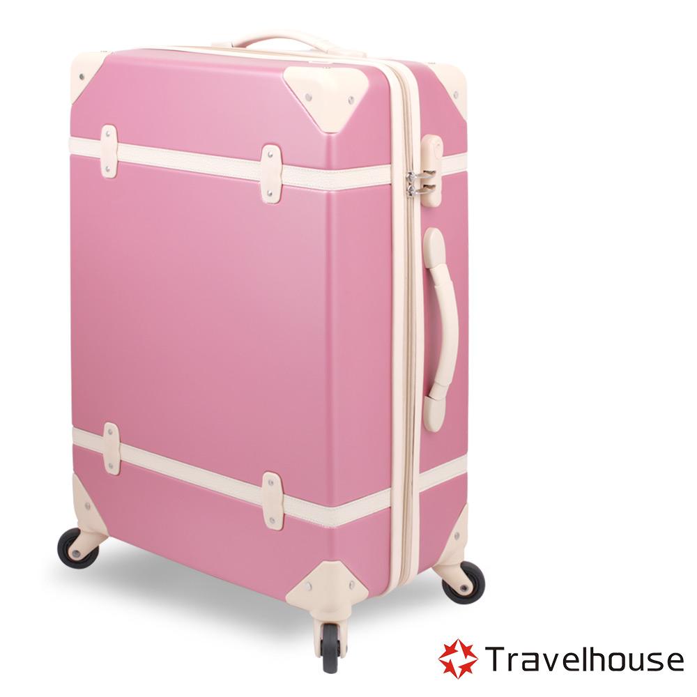 Travelhouse 經典歲月 20吋ABS復古防刮旅行箱(胭脂粉)