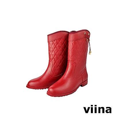 viina 菱格紋抽繩中筒雨靴-紅色