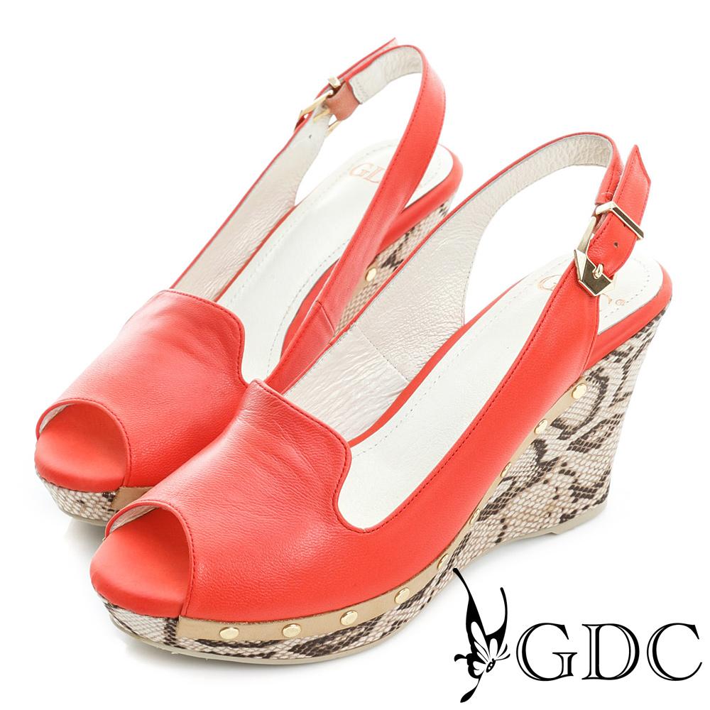 GDC-羊皮鉚釘真皮楔型魚口高跟鞋-紅色