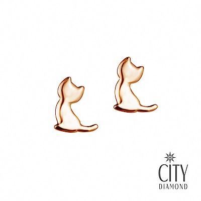 City Diamond引雅【東京Yuki】10K貓貓剪影貓咪玫瑰金耳環