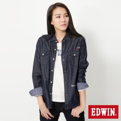 EDWIN-抽繩牛仔襯衫-女-原藍色
