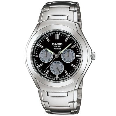 CASIO 簡約都會風三眼指針錶(MTP-1247D-1A)-灰圈底黑/39.9mm