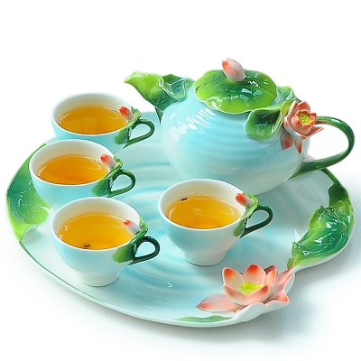 Pure 荷花造型茶具組6件組