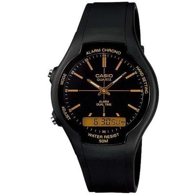 CASIO 酷炫經典指針雙顯錶(AW-90H-9B)-黑/金色時標/39mm