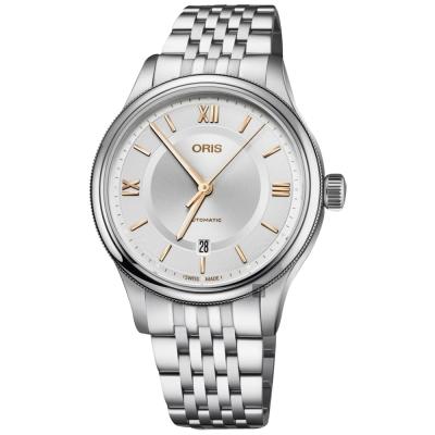 Oris豪利時 Classic 文化系列日期機械錶-銀/42mm