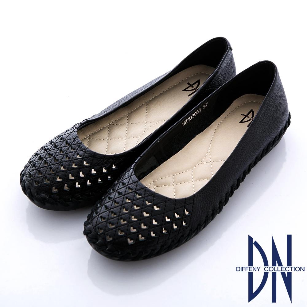 DN 最愛MIT 全真皮素面鏤空柔軟娃娃鞋 黑