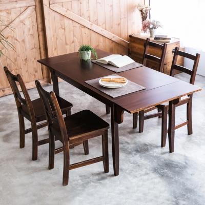 CiS自然行-雙邊延伸實木餐桌椅組一桌四椅74x166公分/焦糖+原木椅墊