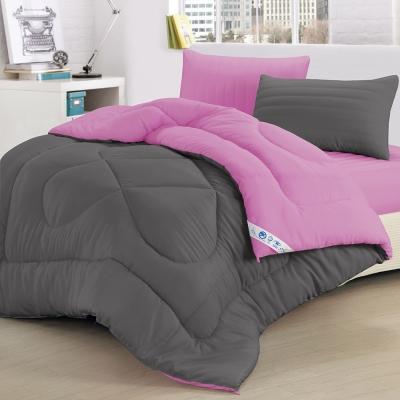 精靈工廠 吸濕排汗防蹣抑菌1.3KG雙色羽絲絨被6x7呎-時尚灰+愛戀紫