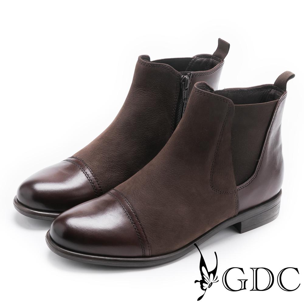 GDC-美式異材拼接帥氣牛皮低跟短靴-咖啡色