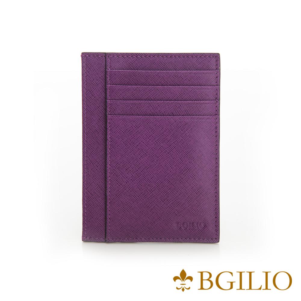 義大利BGilio-都會十字紋牛皮輕薄卡片夾-紫色-2299.310-10