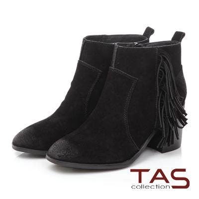 TAS 波希米亞流蘇擦色麂皮高跟短靴-煙燻黑