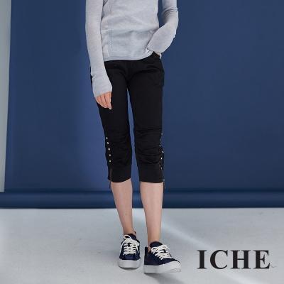 百搭合身排釦抽皺拉鍊設計款膝下造型馬褲(兩色)-黑