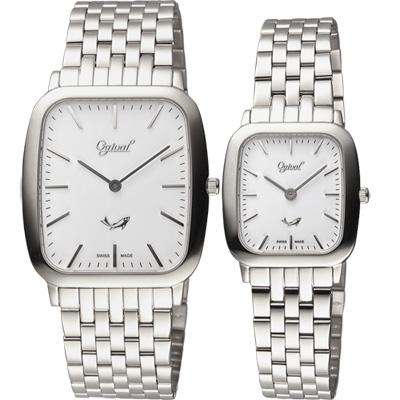 Ogival 愛其華 都會簡約方形石英對錶-銀/33+25mm