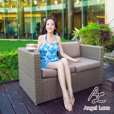 【Angel Luna日本泳裝】荷葉邊收腰連身褲三件式比基尼泳衣-印花藍