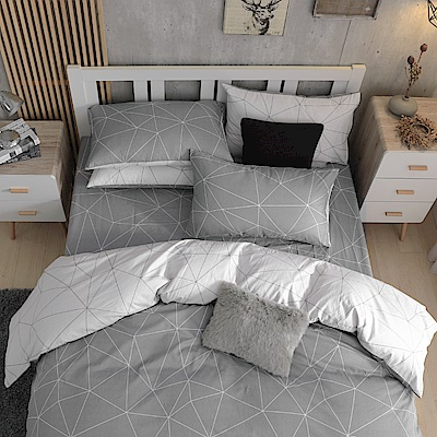 鴻宇HongYew 100%精梳棉 時空旅人 雙人加大床包枕套三件組