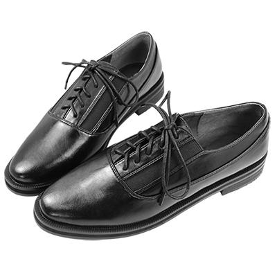Robinlo&Co. 英倫經典牛津平底樂福鞋 黑