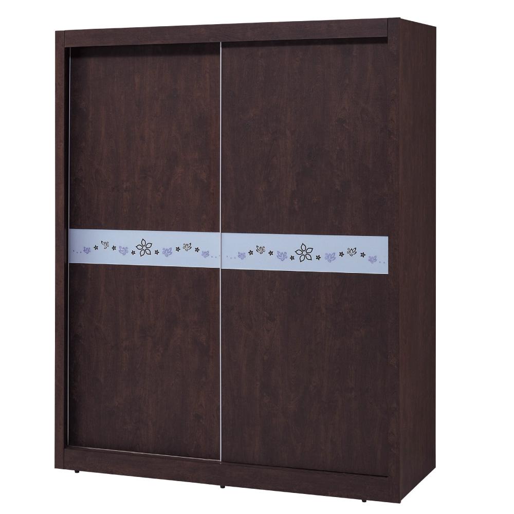 品家居 米卡羅5尺胡桃木紋推門衣櫃-150x59x195cm-免組