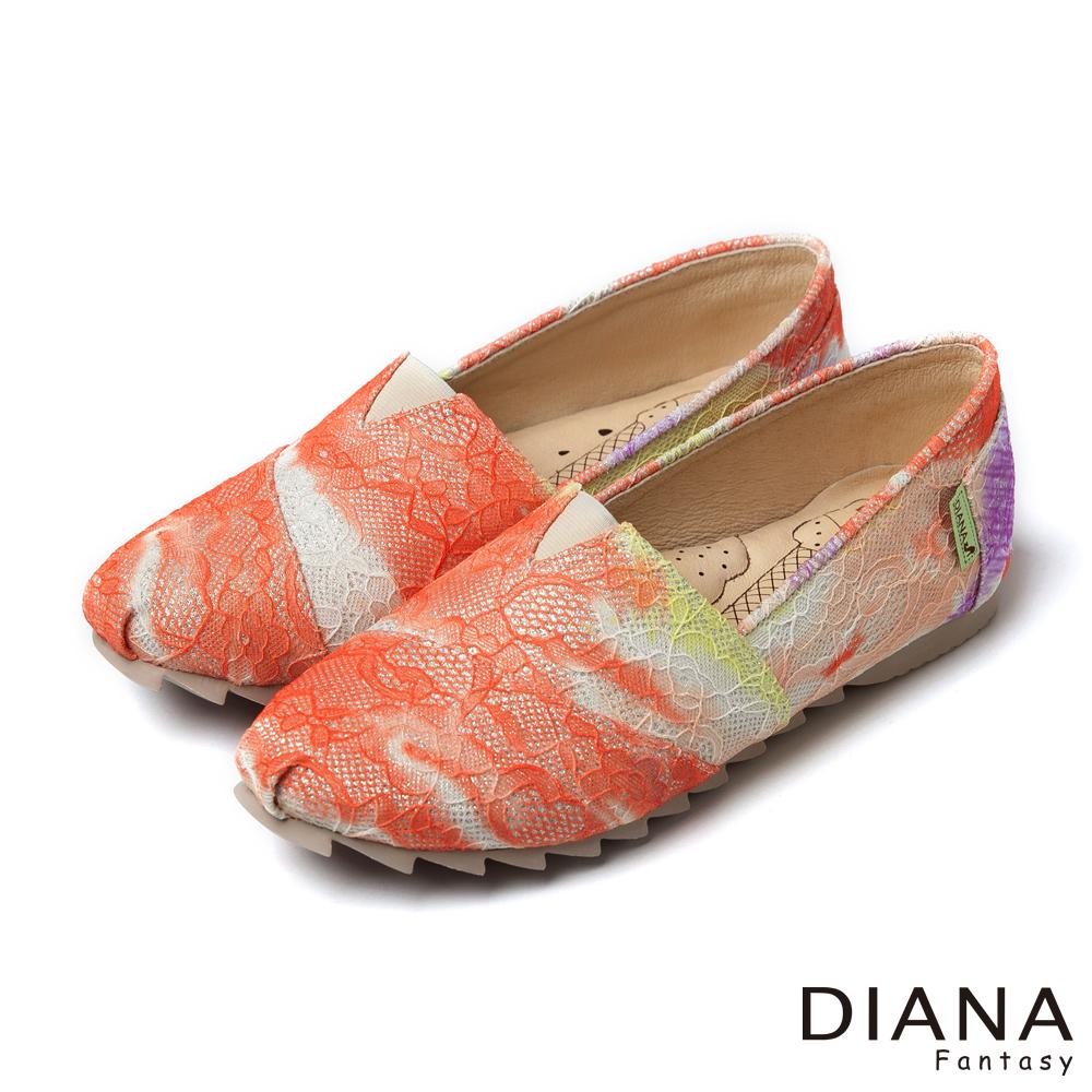 DIANA 超厚切冰淇淋款--漸層法式蕾絲布懶人鞋-橘