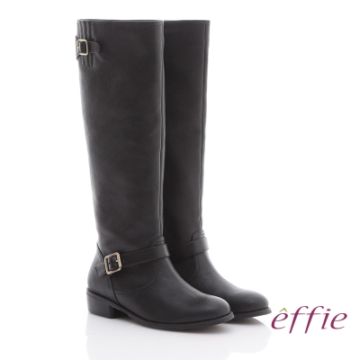 effie 網路獨家 雙釦環及膝直筒低跟長靴 黑