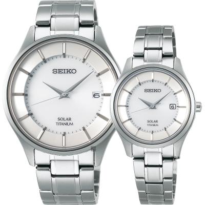 SEIKO精工 SPIRIT SMART 鈦金屬對錶(SBPX101J+STPX041J)