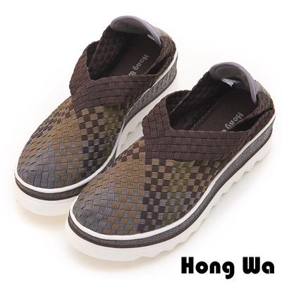 Hong Wa 休閒設計手工感V口造型漸層編織械型包鞋 - 咖啡