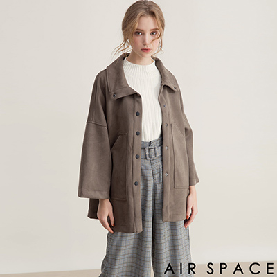 AIR SPACE 大口袋翻領寬袖麂皮絨外套(綠)