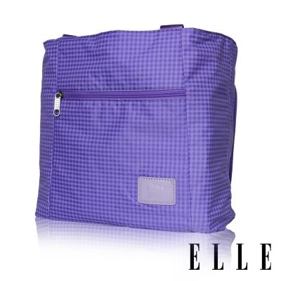ELLE 輕旅休閒可掛式摺疊收納尼龍手提肩背包-格紋紫